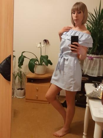 Boots N Bags Heaven Aaliyah - Pretty Striped Ruffled Off-Shoulder Dress Review