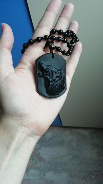 Galaxy Teez Black Obsidian Wolf Head Amulet Pendant Necklace Review