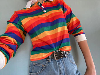 Galaxy Teez Colorful Rainbow Crop Top Polo Shirt Review