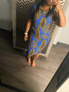 D'IYANU Sabella African Print Stretch Midi Dress (Blue Gold Leaves) Review