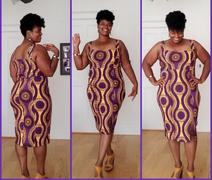 D'IYANU Kaweria African Print Fitted Stretch Sweetheart Dress ( Gold Purple Circles) Review