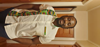 D'IYANU Tumelo African Print Appliqué Button-Up Shirt (White/Green Purple Kente) - Clearance Review