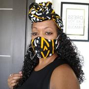D'IYANU Shaka African Print 3 Layer Reusable Face Mask (BLACK GOLD MUDCLOTH) Review