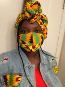 D'IYANU African Print Head Wrap/Scarf (Gold Maroon Kente) Review