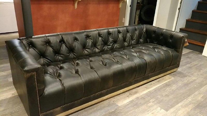 Maxx Distressed Black Leather Tufted Sofa