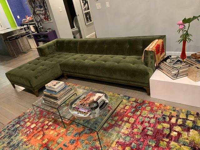 Picture of: Dylan Modern Olive Green Velvet Tufted Sectional Sofa Zin Home Fourhands