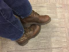 The Western Company Justin Womens Bark Leather Work Boots WP Steel Toe Lace-Up 6in Review