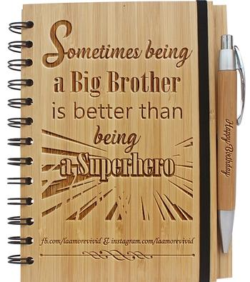 Woodgeek store Sometimes being a brother is better than being a superhero- Personalized Wooden Notebook Review