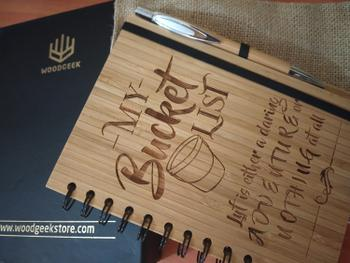 Woodgeek store My Bucket List - Personalized Wooden Notebook Review