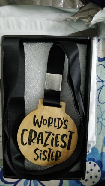 Woodgeek store World's Craziest Sister Wooden Medal Review