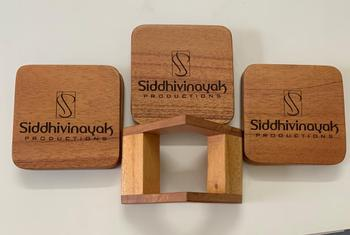 Woodgeek store Customize Your Own Square Wooden Coaster Set - Custom Coasters With Holder Review