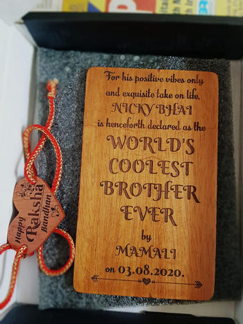 Woodgeek store Happy Raksha Bandhan - Personalised Wooden Rakhi & Greeting Card Review