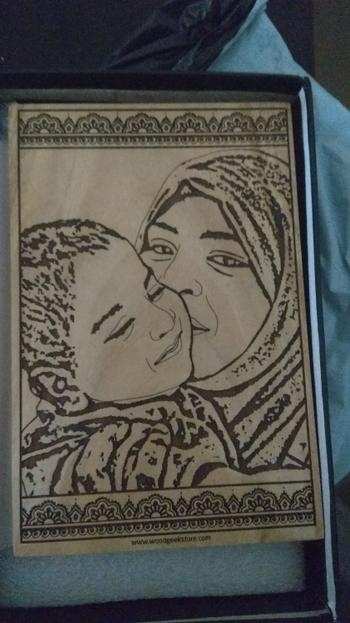 Woodgeek store Wood Engraved Photo Of Mom & Child - Wooden Poster Review