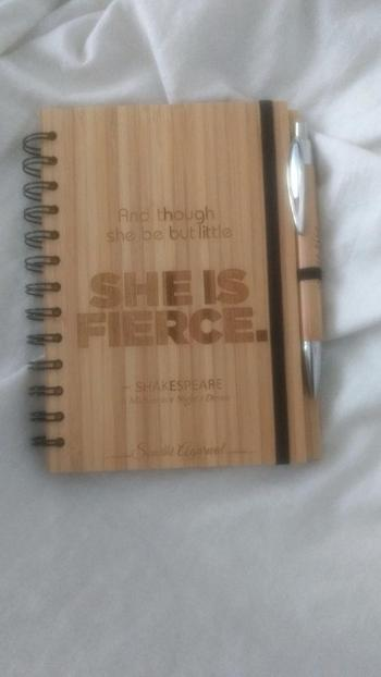 Woodgeek store Though she be but little, she is fierce - bamboo wood notebook Review