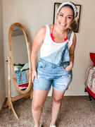 Closet Candy Boutique Lizzie Distressed Denim Overall Shorts - Light Wash Review