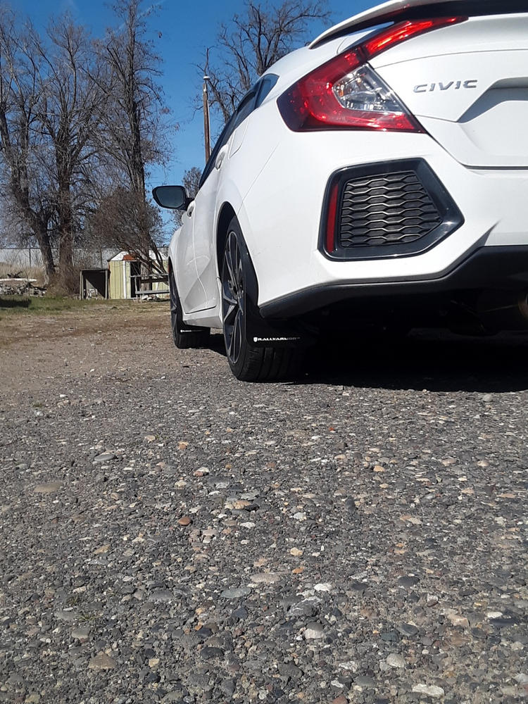 Rally Armor Black UR Mud Flaps w// White Logo for 2016-2019 Honda Civic Si