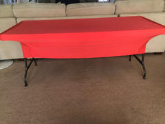 tableclothsfactory.com 6 FT Coral Rectangular Stretch Spandex Tablecloth - Clearance SALE Review