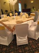 tableclothsfactory.com 72 x 72 Gold Satin Edge Embroidered Sheer Organza Square Table Overlay Review