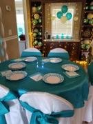 tableclothsfactory.com 60x 60 Turquoise Seamless Satin Square Tablecloth Overlay Review