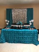tableclothsfactory.com 90 x 132 Turquoise Grandiose Rosette 3D Satin Rectangle Tablecloth Review