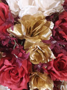 tableclothsfactory.com 24 Bush 168 Pcs Gold Artificial Bloom Roses Flowers Review