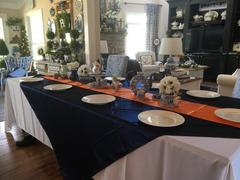 tableclothsfactory.com 90 | Navy Satin Overlay | Seamless Square Table Overlays Review