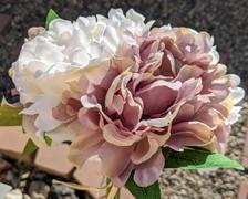 tableclothsfactory.com 5 Heads | 11 Tall Dual Tone Artificial Bush Peony Bouquet - Dusty Rose|Beige Review