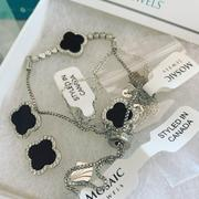Mosaik Juwelen 925 Silber Schwarz Achat Klee Armband Bewertung