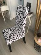 DecorZee Black & White Floral Vine Pattern Dining Chair Cover Review