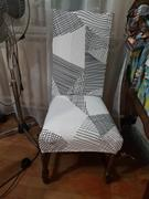 DecorZee Gray / White Abstract Triangle Pattern Dining Chair Cover Review