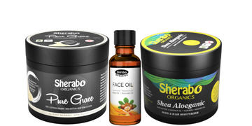 Sherabo Organics Big Size Jars Combo-Face Oil | Pure Grace | Shea Aloeganic Review