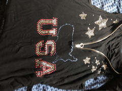 LuckinChic.com Combed Cotton Casual V Neck Rhinestone God Bless The Usa Tee Shirt- Luckinchic Review