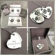 Hand on Heart Jewellery  Handprint or Footprint Descending Heart Necklace, Four Prints And Four Names Review