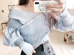 J.ING Off-the-Shoulder Stretch Blue Top Review
