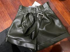 J.ING Torre Olive Leather Belted Shorts Review