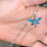 enjoy life creative Butterfly Anklet Sterling Silver Beaded Ankle Bracelet Dainty Blue Opal Charm Anklet 925 Sterling Silver prepare for summer vacation Review