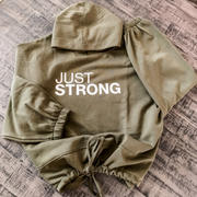 Just Strong Olive Green Cropped Statement Hoodie Review