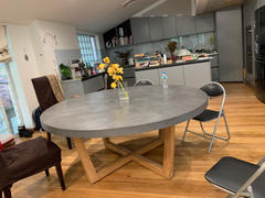 Living By Design PRE ORDER  |  ARIA CONCRETE GRANITE TOP DINING TABLE ROUND   |  CLASSIC MID GREY  |  180cm Review