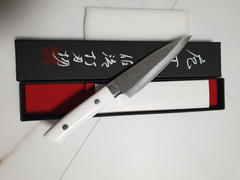 JapaneseChefsKnife.Com Takeshi Saji SRS-13 Custom Series Petty 135mm (5.3 inch, White Corian Handle) Review