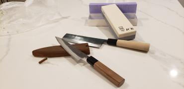 JapaneseChefsKnife.Com Fu-Rin-Ka-Zan Aogami Super Kurouchi Series Wa Petty (120mm and 150mm, 2 sizes, Octagon Shaped Walnut-Wood Handle) Review
