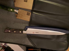 JapaneseChefsKnife.Com Hattori Forums Custom Limited Edition Year 2020, FH Series FH-12SP2020PURPLE Sujihiki 230mm (9 Inch, Purple Color, Stabilized Box Elder Wood Handle) Review