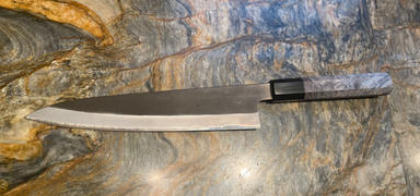 JapaneseChefsKnife.Com Hinoura White Steel No.1 Kurouchi Series Wa Gyuto 210mm (8.2 Inch, Octagonal Blue Color Stabilized Maple Burl Wood Handle, HS1-6B) Review