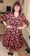 Pretty Kitty Fashion Vintage Black Red Rose Floral Print 3/4 Sleeve 50s Swing Dress Review