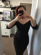 Pretty Kitty Fashion Black Vintage Belted 3/4 Sleeve Bodycon Wiggle Work Office Pencil Dress Review