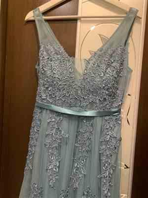E***a verified customer review of Gray Tulle Long Ethereal Evening Dress