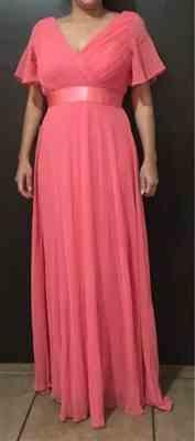 Isabelle N. verified customer review of Long Empire Waist Evening Dress with Short Flutter Sleeves