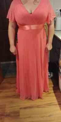 P***k verified customer review of Long Empire Waist Evening Dress with Short Flutter Sleeves