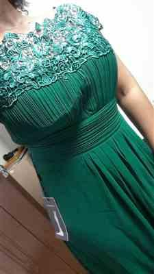 Veronica C. verified customer review of Plus Size Lace Cap Sleeve Evening Gown