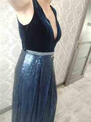 Olive G. verified customer review of Floor Length Velvet and Sequin Evening Dress
