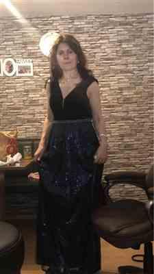 Pag W. verified customer review of Floor Length Velvet and Sequin Evening Dress